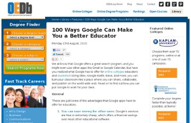 http://oedb.org/library/features/100_ways_google_make_you_better_educator