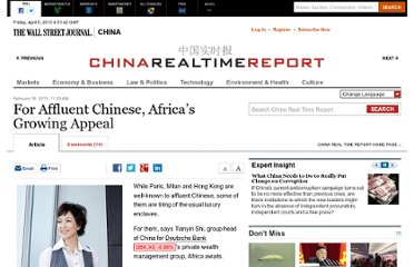 http://blogs.wsj.com/chinarealtime/2013/02/19/for-affluent-chinese-africas-growing-appeal/