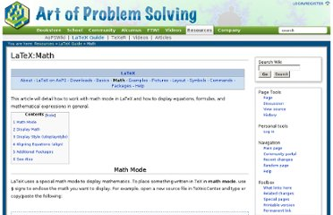 http://www.artofproblemsolving.com/Wiki/index.php/LaTeX:Math