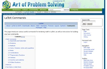 http://www.artofproblemsolving.com/Wiki/index.php/LaTeX:Commands
