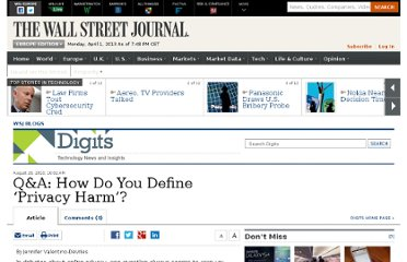 http://blogs.wsj.com/digits/2010/08/26/qa-how-do-you-define-privacy-harm/