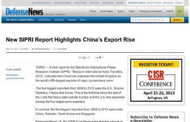 http://www.defensenews.com/article/20130318/DEFREG03/303180017/New-SIPRI-Report-Highlights-China-8217-s-Export-Rise