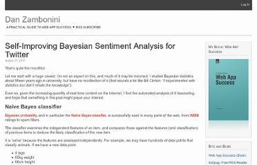 http://danzambonini.com/self-improving-bayesian-sentiment-analysis-for-twitter/