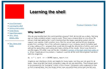 http://www.linuxcommand.org/learning_the_shell.php#contents