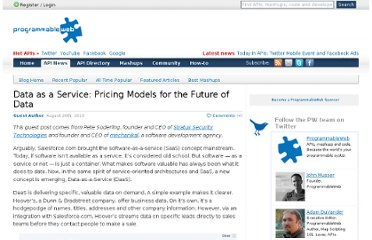 http://blog.programmableweb.com/2010/08/26/data-as-a-service-pricing-models-for-the-future-of-data/