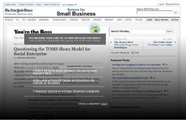 http://boss.blogs.nytimes.com/2013/03/19/questioning-the-toms-shoes-model-for-social-enterprise/