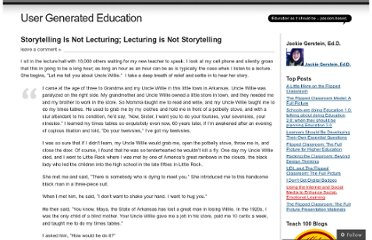 http://usergeneratededucation.wordpress.com/2013/03/20/storytelling-is-not-lecturing-lecturing-is-not-storytelling/