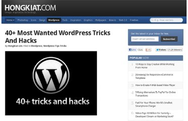 http://www.hongkiat.com/blog/40-most-wanted-wordpress-tricks-and-hacks/