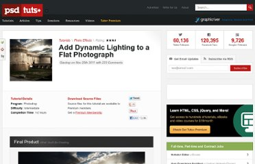 http://psd.tutsplus.com/tutorials/photo-effects-tutorials/add-dynamic-lighting-to-a-flat-photograph/