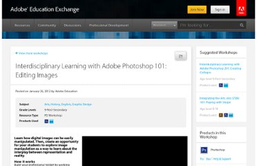 http://edex.adobe.com/professional-development/workshops/interdisciplinary-learning-with-adobe-photoshop-101--editing-images/
