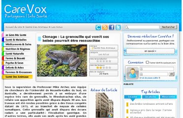 http://www.carevox.fr/sante-des-animaux/article/clonage-la-grenouille-qui-vomit