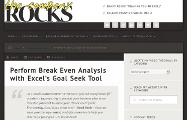 http://www.thecompanyrocks.com/perform-break-even-analysis-excel-goal-seek-tool/
