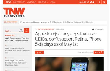 http://thenextweb.com/apple/2013/03/21/after-a-year-of-warnings-apple-will-no-longer-accept-any-apps-that-use-udids-as-of-may-1st/