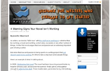 http://procrastinatingwritersblog.com/2010/05/4-warning-signs-your-novel-isnt-working/