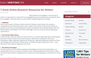 http://www.dailywritingtips.com/7-great-online-research-resources-for-writers/