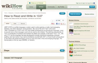 http://www.wikihow.com/Read-and-Write-in-1337