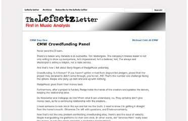 http://lefsetz.com/wordpress/index.php/archives/2013/03/22/cmw-crowdfunding-panel/