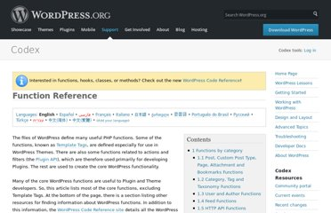 http://codex.wordpress.org/Function_Reference