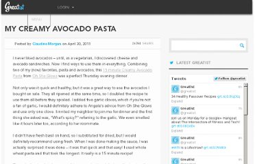 http://greatist.com/team/my-creamy-avocado-pasta