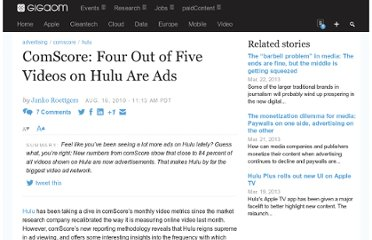 http://gigaom.com/2010/08/16/comscore-four-out-of-five-videos-on-hulu-are-ads/