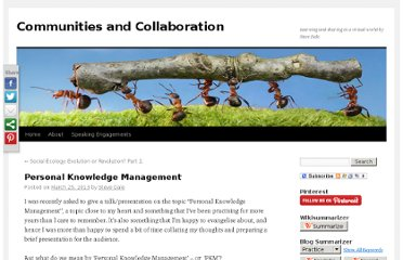 http://steve-dale.net/2013/03/25/personal-knowledge-management/