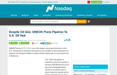http://www.nasdaq.com/article/despite-oil-glut-oneok-plans-pipeline-to-us-oil-hub-cm132511#.UVCUINF-P0M
