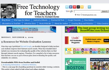 http://www.freetech4teachers.com/2009/11/9-resources-for-website-evaluation.html#.UVC0o9F-P0M