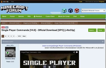 http://www.minecraftforum.net/topic/94310-151-single-player-commands-v47-official-download-spc-noclip/