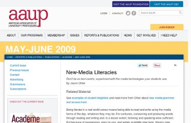 http://www.aaup.org/article/new-media-literacies#.UVD6O9F-P0M