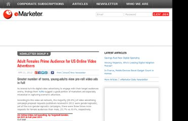 http://www.emarketer.com/Article/Adult-Females-Prime-Audience-US-Online-Video-Advertisers/1008967