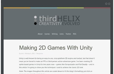 http://www.third-helix.com/2012/02/making-2d-games-with-unity/