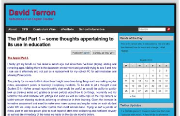 http://www.davidterron.com/the-ipad-part-1-some-thoughts-appertaining-to-its-use-in-education/