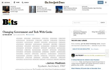 http://bits.blogs.nytimes.com/2010/07/06/changing-government-and-tech-with-geeks/?gwh=73984710A712D39A1F1FEA468B1508AE