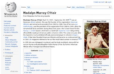 http://en.wikipedia.org/wiki/Madalyn_Murray_O%27Hair