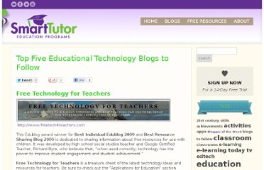 http://thinkonline.smarttutor.com/top-five-educational-technology-blogs-to-follow/