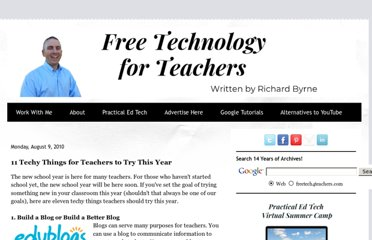 http://www.freetech4teachers.com/2010/08/11-techy-things-for-teachers-to-try.html#.UVO0vtF-P0M