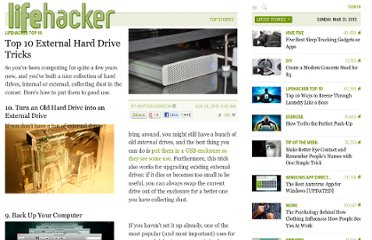 http://lifehacker.com/5624331/top-10-external-hard-drive-tricks