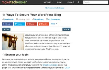 http://www.maketecheasier.com/11-ways-to-secure-your-wordpress-blog/2008/08/12
