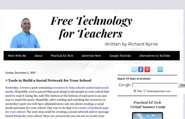http://www.freetech4teachers.com/2010/12/7-tools-to-build-social-network-for.html#.UVPgB9F-P0M