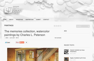 http://ego-alterego.com/2011/06/the-memories-collection-watercolor-paintings-by-charles-l-peterson/#.UVPn-dF-P0N