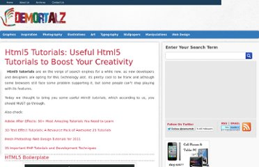 http://demortalz.com/2011/09/04/html5-tutorials-useful-html5-tutorials-to-boost-your-creativity-2/