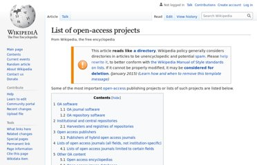http://en.wikipedia.org/wiki/List_of_open-access_projects