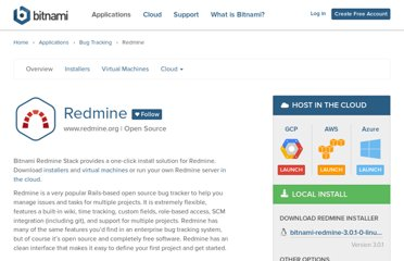 http://bitnami.com/stack/redmine#cloudImage