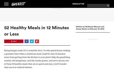 http://greatist.com/health/52-healthy-meals-12-minutes-or-less