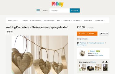 http://folksy.com/items/649354-Weddng-Decorations-Shakespearean-paper-garland-of-hearts