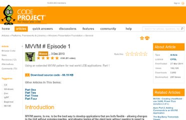 http://www.codeproject.com/Articles/173618/MVVM-sharp-Episode-1