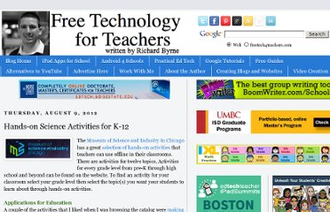 http://www.freetech4teachers.com/2012/08/hands-on-science-activities-for-k-12.html#.UVSBudF-P0M