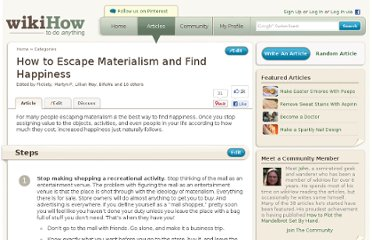 http://www.wikihow.com/Escape-Materialism-and-Find-Happiness