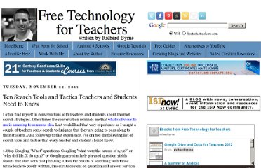 http://www.freetech4teachers.com/2011/11/ten-search-tools-and-tactics-teachers.html#.UVStj9F-P0M