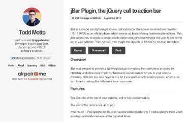 http://toddmotto.com/jbar-plugin-the-jquery-call-to-action-bar/